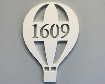 """House Number Plaque - Hot Air Balloon, Personalized Sign, Outdoor Decor, Coastal Themed Custom Sign, Address Plaque - Approx 15"""" x 10"""""""