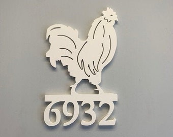 House Number Sign, Rooster,  Address Plaque, Address Sign, Custom, Personalized Sign, Housewarming Gift, Coastal, Outdoor Decor