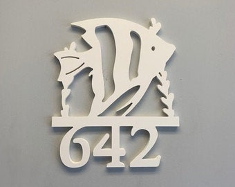 House Number Sign, Angel Fish W/Coral,  Address Plaque, Address Sign, Custom, Personalized Sign, Housewarming Gift, Coastal, Outdoor Decor