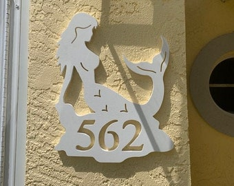 """House Number Plaque - Mermaid 2021, Personalized Sign, Outdoor Decor, Coastal Themed Custom Sign, Address Plaque - Approx 13"""" x 14"""" wide"""