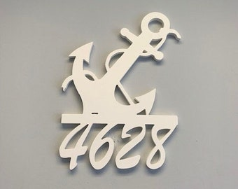 House Number Sign, Anchor W/Rope, Address Plaque, Address Sign, Custom, Personalized Sign, Housewarming Gift, Coastal, Outdoor Decor