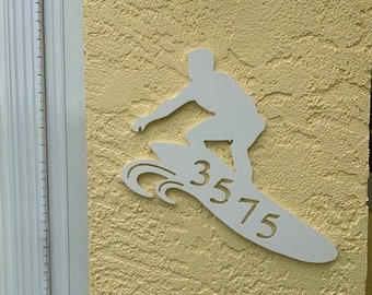"""House Number Plaque - Surfer, Personalized Sign, Outdoor Decor, Custom Sign, Address Plaque - Approx 14"""" x 11"""" tall"""