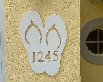 """House Number Plaque - Flip Flops, Personalized Sign, Outdoor Decor, Custom Sign, Address Plaque - Approx 13"""" x 12"""" wide"""