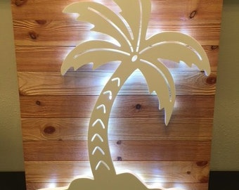 LIT! Palm Tree Large Wall Art Design on Cedar Panel with Timed Fairy Lights! Indoor and Outdoor Use. Long Lasting & Fabulous! 20 x 16 inches