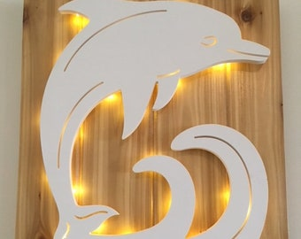 LIT! Dolphin Large Wall Art Design on Cedar Panel with Timed Fairy Lights! Indoor and Outdoor Use. Long Lasting & Fabulous! 20 x 16 inches.