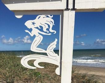 Mailbox Bracket - Mermaid W/Starfish Large 16x21 inch, Custom Mailbox, Coastal, Tropical, Outdoor Decor, Mailbox & Post Not Included