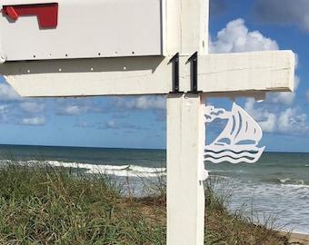 Mailbox Bracket - Sailboat Small 7x9 inch, Custom Mailbox, Coastal, Tropical, Bracket, Outdoor Decor, Mailbox & Post Not Included