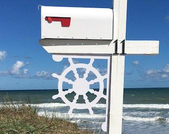 Mailbox Bracket - Ship's Wheel Large 16x21 inch, Custom Mailbox, Coastal, Tropical, Bracket, Outdoor Decor, Mailbox & Post Not Included