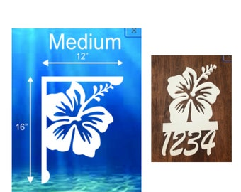 SAVE ON SETS! Hibiscus Mailbox Bracket and House Number Sign - Medium Bracket 12 x 16 inches, Sign 14 x 14 inches (approx)