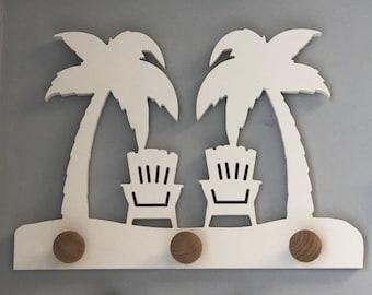 Coat Rack - Palm Trees Adirondack Chairs Design Coat Rack, Robe Hook, Wall Hook, Hat Rack, Entryway Organizer, Free Shipping Mainland USA