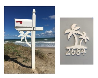 SAVE ON SETS! Palm Tree Original, Mailbox Bracket and House Number Sign - Large Bracket 16 x 21 inches, Sign 15 x 12 inches (approx)