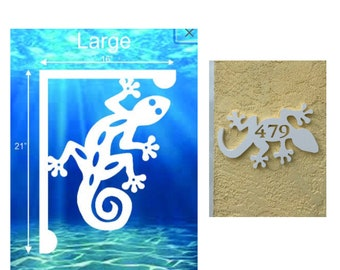 SAVE ON SETS! Gecko Mailbox Bracket and House Number Plaque - Large Bracket 16 x 21 inches, Plaque 14 x 8 inches (approx)