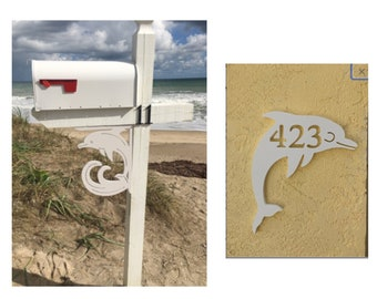 SAVE ON SETS! Dolphin Original, Mailbox Bracket and House Number Plaque - Medium Bracket 12 x 16 inches, Plaque 10 x 13 inches (approx)