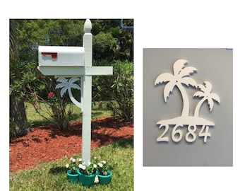 SAVE ON SETS! Palm Tree Original, Mailbox Bracket and House Number Sign - Medium Bracket 12 x 16 inches, Sign 15 x 12 inches (approx)
