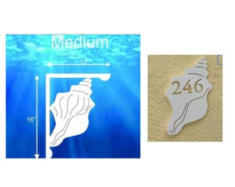 SAVE ON SETS! Conch Mailbox Bracket and House Number Plaque - Medium Bracket 12 x 16 inches, Plaque 8 x 13 (approx)