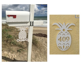 SAVE ON SETS! Pineapple Original, Mailbox Bracket and House Number Plaque - Medium Bracket 12 x 16 inches, Plaque 11 x 14 inches (approx)