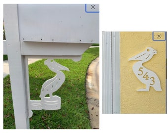 SAVE ON SETS! Pelican Mailbox Bracket and House Number Plaque - Large Bracket 16 x 21 inches, Sign 14 x 9 (approx)
