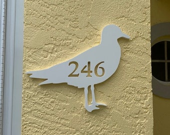 """House Number Plaque - Seagull, Personalized Sign, Outdoor Decor, Coastal Themed Custom Sign, Address Plaque - Approx 14"""" x 9.5"""" wide"""