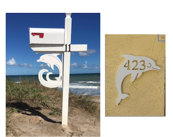 SAVE ON SETS! Dolphin Original, Mailbox Bracket and House Number Plaque - Large Bracket 16 x 21 inches, Plaque 10 x 13 inches (approx)