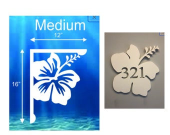 SAVE ON SETS! Hibiscus Mailbox Bracket and House Number Plaque - Medium Bracket 12 x 16 inches, Plaque 14 x 14 (approx)