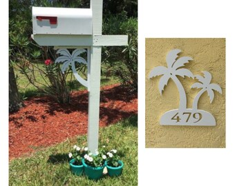 SAVE ON SETS! Palm Tree Original, Mailbox Bracket and House Number Plaque - Medium Bracket 12 x 16 inches, Plaque 13 x 14 inches (approx)