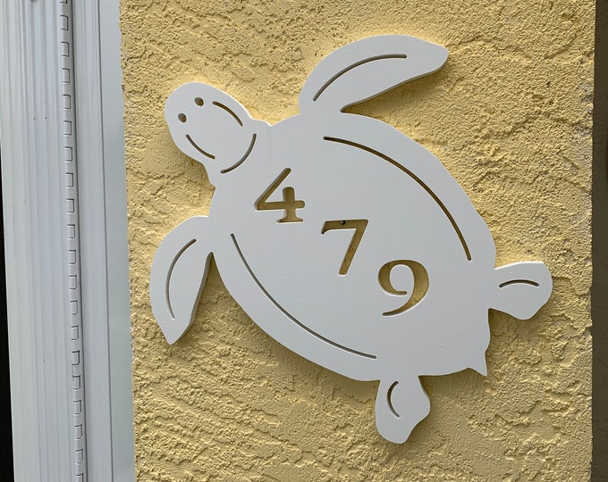"""Featured listing image: House Number Plaque - Turtle, Personalized Sign, Outdoor Decor, Coastal Themed Custom Sign, Address Plaque - Approx 14"""" x 13"""" wide"""