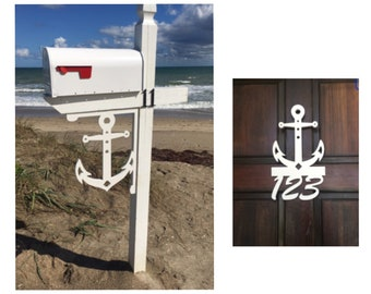 SAVE ON SETS! Anchor Original, Mailbox Bracket and House Number Sign - Large Bracket 16 x 21 inches, Sign 14 x 9 inches (approx)