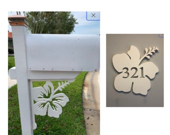 SAVE ON SETS! Hibiscus Mailbox Bracket and House Number Plaque - Large Bracket 16 x 21 inches, Plaque 14 x 14 inches (approx)