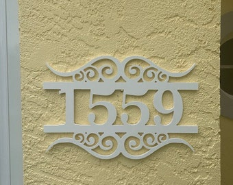 House Number Sign, Number Flourish, Address Plaque, Address Sign, Custom, Personalized Sign, Housewarming Gift, Outdoor Decor