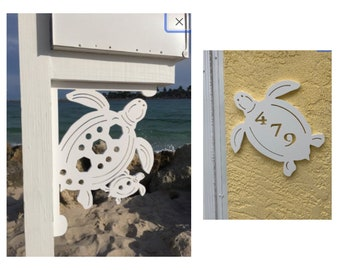SAVE ON SETS! Turtle Original, Mailbox Bracket and House Number Plaque - Large Bracket 16 x 21 inches, Plaque 14 x 13 inches (approx)
