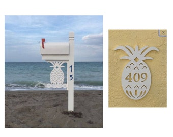 SAVE ON SETS! Pineapple Original, Mailbox Bracket and House Number Sign - Large Bracket 16 x 21 inches, Sign 14 x 9 (approx)