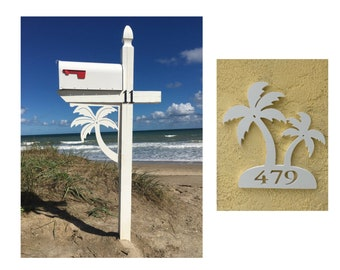 SAVE ON SETS! Palm Tree Original, Mailbox Bracket and House Number Plaque - Large Bracket 16 x 21 inches, Plaque 13 x 14 inches (approx)