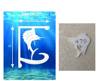 SAVE ON SETS! Sailfish Mailbox Bracket and House Number Plaque - Medium Bracket 12 x 16 inches, Plaque 14 x 12 inches (approx)