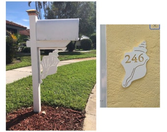 SAVE ON SETS! Conch Shell Mailbox Bracket and House Number Plaque - Large Bracket 16 x 21 inches, Plaque 8 x 13 inches (approx)