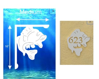 SAVE ON SETS! Largemouth Bass Mailbox Bracket and House Number Plaque - Medium Bracket 12 x 16 inches, Plaque 11 x 13 inches (approx)