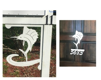 SAVE ON SETS! Sailfish Mailbox Bracket and House Number Sign - Large Bracket 16 x 21 inches, Sign 14 x 12 inches (approx)