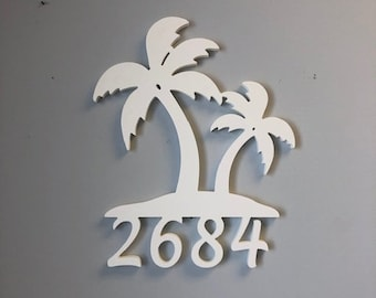 House Number Sign, Palm Tree Double, Address Plaque, Address Sign, Custom, Personalized Sign, Housewarming Gift, Coastal, Outdoor Decor