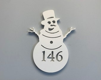 """House Number Plaque - Snowman Laughing, Personalized Sign, Outdoor Decor, Custom Sign, Address Plaque - Approx 14"""" x 9.5"""" wide"""
