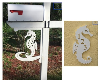 SAVE ON SETS! Seahorse Mailbox Bracket and House Number Plaque - Large Bracket 16 x 21 inches, Plaque 7 x 13 inches (approx)