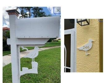 SAVE ON SETS! Seagull Mailbox Bracket and House Number Plaque - Large Bracket 16 x 21 inches, Plaque 14 x 10 inches (approx)