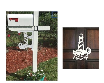 SAVE ON SETS! Lighthouse Mailbox Bracket and House Number Sign - Medium Bracket 12 x 16 inches, Sign 9 x 13 inches (approx)