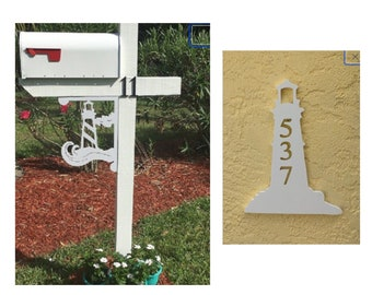SAVE ON SETS! Lighthouse Mailbox Bracket and House Number Plaque - Medium Bracket 12 x 16 inches, Plaque 9 x 13 inches (approx)