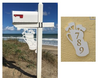SAVE ON SETS! Golf Bag Mailbox Bracket and House Number Plaque - Large Bracket 16 x 21 inches, Plaque 9 x 13 inches (approx)