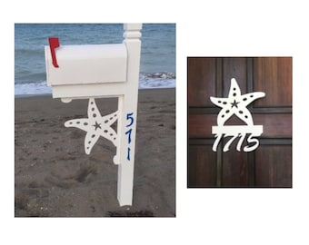 SAVE ON SETS! Starfish Mailbox Bracket and House Number Sign - Large Bracket 16 x 21 inches, Sign 13 x 14 inches (approx)