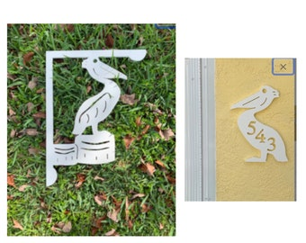 SAVE ON SETS! Pelican Mailbox Bracket and House Number Plaque - Medium Bracket 12 x 16 inches, Plaque 12 x 13 inches (approx)
