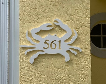 """House Number Plaque - Crab, Personalized Sign, Outdoor Decor, Coastal Themed Custom Sign, Address Plaque - Approx 10"""" x 14"""" wide"""