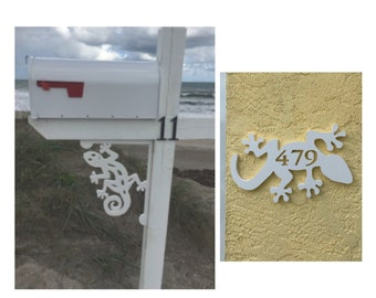 SAVE ON SETS! Gecko Mailbox Bracket and House Number Plaque - Medium Bracket 12 x 16 inches, Plaque 14 x 8 inches (approx)