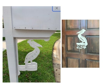 SAVE ON SETS! Pelican Mailbox Bracket and House Number Sign - Large Bracket 16 x 21 inches, Sign 12 x 13 inches (approx)