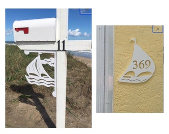 SAVE ON SETS! Sailboat Mailbox Bracket and House Number Plaque - Large Bracket 16 x 21 inches, Sign 14 x 9 (approx)