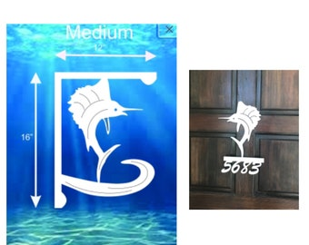 SAVE ON SETS! Sailfish Mailbox Bracket and House Number Sign - Medium Bracket 12 x 16 inches, Sign 14 x 12 inches (approx)